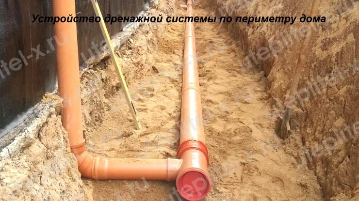 Устройство дренажной системы по периметру фундамента дома