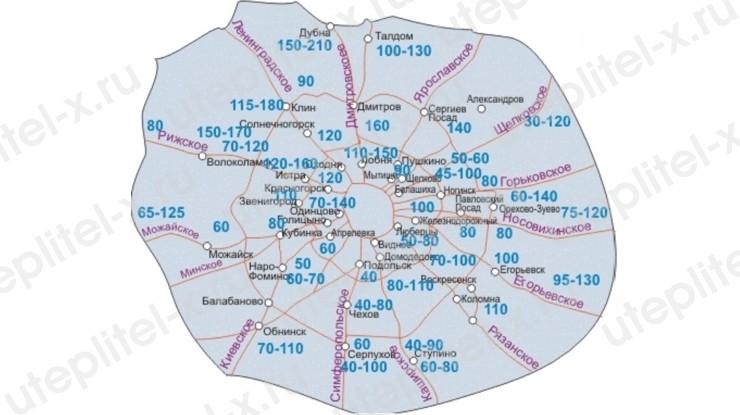 Карта промерзания грунта Московской области и Москвы
