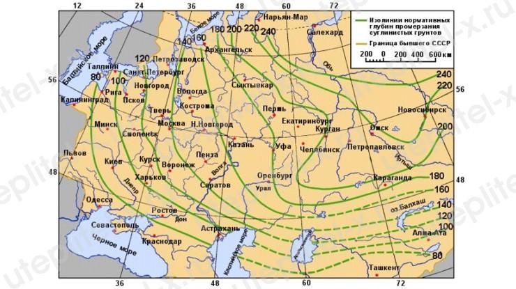 Карта нормативных глубин промерзания грунтов в России