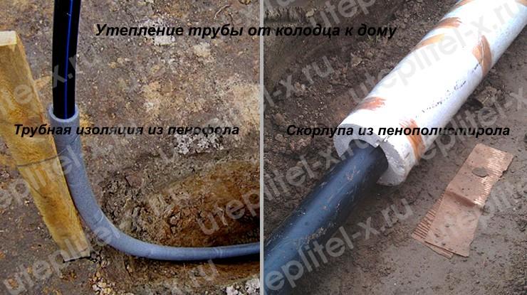 Фото. Способы утепления водопроводной трубы на улице